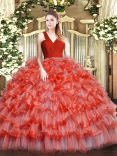 Fashion Sleeveless Ruffled Layers Zipper Vestidos de Quinceanera