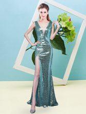 Super Aqua Blue Sleeveless Floor Length Sequins Zipper Prom Gown