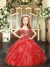 Red Sleeveless Beading and Ruffles Floor Length Little Girl Pageant Dress