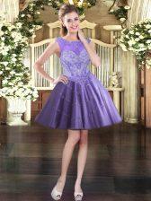 Lavender Tulle Lace Up Scoop Sleeveless Mini Length Prom Dress Beading