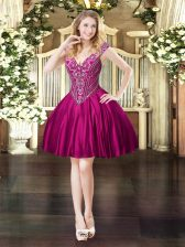 Enchanting Mini Length Lace Up Prom Gown Fuchsia for Prom and Party with Beading