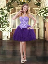 Designer Purple Tulle Lace Up Sweetheart Sleeveless Mini Length Homecoming Dress Appliques and Ruffles
