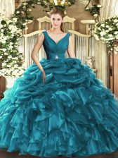 High Quality Teal Sleeveless Organza Backless Quinceanera Dresses for Sweet 16 and Quinceanera
