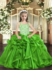 Perfect Organza Straps Sleeveless Lace Up Beading and Ruffles Pageant Gowns in Green