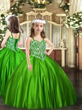 Hot Sale Green Straps Neckline Beading Child Pageant Dress Sleeveless Lace Up
