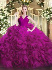 Fuchsia Zipper Quinceanera Dress Ruffles Sleeveless Floor Length