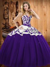 Colorful Sleeveless Embroidery Lace Up Quinceanera Gowns