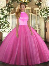 Pretty Rose Pink Sleeveless Floor Length Beading Backless Sweet 16 Dresses
