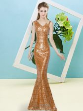 Asymmetric Sleeveless Prom Gown Floor Length Sequins Rust Red Sequined