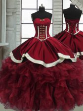 Best Red Ball Gowns Beading and Ruffles Quinceanera Dress Lace Up Organza Sleeveless Floor Length