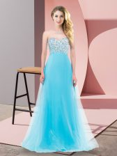 Aqua Blue Sleeveless Floor Length Beading Lace Up Quinceanera Dama Dress