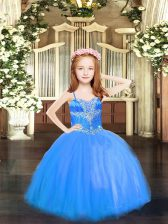 Top Selling Blue Little Girls Pageant Gowns Party and Quinceanera with Beading Spaghetti Straps Sleeveless Lace Up