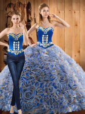 Multi-color Sweetheart Lace Up Embroidery Sweet 16 Quinceanera Dress Sweep Train Long Sleeves