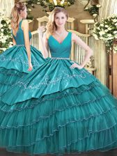 Satin and Organza Sleeveless Floor Length 15 Quinceanera Dress and Embroidery and Ruffled Layers