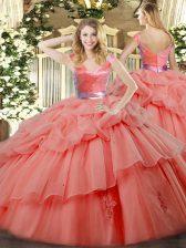 Sweet Watermelon Red Zipper Vestidos de Quinceanera Ruffled Layers Sleeveless Floor Length