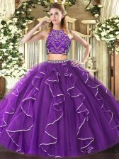 Sexy Floor Length Zipper Sweet 16 Quinceanera Dress Purple for Military Ball and Sweet 16 and Quinceanera with Beading and Ruffles