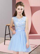 Light Blue Side Zipper Damas Dress Lace Sleeveless Mini Length