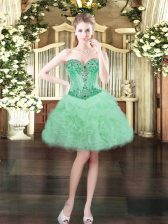 Mini Length Apple Green Evening Dress Sweetheart Sleeveless Lace Up