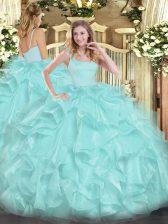 High Class Straps Sleeveless Organza Quince Ball Gowns Beading and Ruffles Zipper