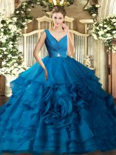 Delicate V-neck Sleeveless Quinceanera Gowns Floor Length Beading and Ruching Blue Organza