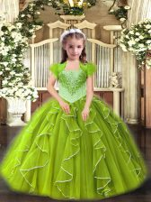 Yellow Green Ball Gowns Organza Straps Sleeveless Beading and Ruffles Floor Length Lace Up Little Girl Pageant Gowns