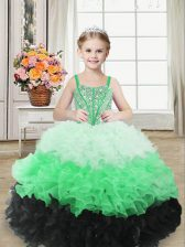 Superior Organza Straps Sleeveless Lace Up Beading and Ruffles Little Girls Pageant Gowns in Multi-color