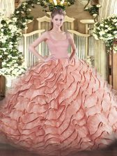 On Sale Rust Red Quinceanera Gowns Military Ball and Sweet 16 and Quinceanera with Ruffled Layers Straps Sleeveless Brush Train Zipper