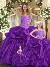 Edgy Purple Sleeveless Beading and Ruffles Floor Length Quince Ball Gowns