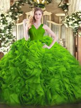 Floor Length Quinceanera Dress Fabric With Rolling Flowers Sleeveless Ruffles