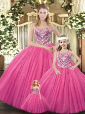 Ball Gowns Quinceanera Gowns Hot Pink Sweetheart Tulle Sleeveless Floor Length Lace Up