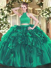 Glittering Sleeveless Beading and Ruffles Backless 15 Quinceanera Dress