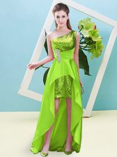Dazzling Elastic Woven Satin and Sequined Sleeveless High Low Prom Dresses and Beading and Sequins