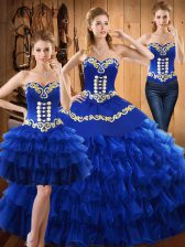 Clearance Blue Sweetheart Neckline Embroidery and Ruffled Layers Sweet 16 Quinceanera Dress Sleeveless Lace Up