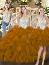 Brown Scoop Neckline Beading and Ruffles Quinceanera Gown Sleeveless Zipper
