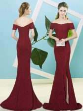 Custom Fit Burgundy Zipper Dress for Prom Sequins Short Sleeves Sweep Train