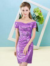 Eggplant Purple Short Sleeves Sequins Mini Length Dress for Prom
