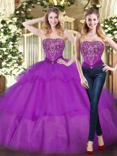 Cheap Beading and Ruffled Layers Sweet 16 Quinceanera Dress Eggplant Purple Lace Up Sleeveless Floor Length