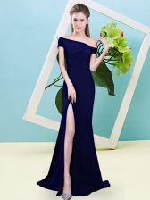 Ruching Quinceanera Dama Dress Royal Blue Zipper Sleeveless Floor Length