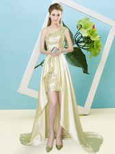 Flare Light Yellow Empire One Shoulder Sleeveless Elastic Woven Satin and Sequined High Low Lace Up Sequins Homecoming Dress