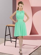 High End Apple Green Sleeveless Chiffon Zipper Quinceanera Dama Dress for Prom and Wedding Party