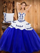 Floor Length Royal Blue Quince Ball Gowns Strapless Sleeveless Lace Up