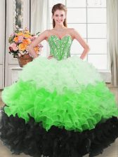 Multi-color Organza Lace Up Sweet 16 Dress Sleeveless Floor Length Beading and Ruffles