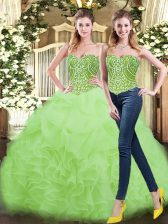 Hot Selling Two Pieces Sweet 16 Quinceanera Dress Yellow Green Sweetheart Organza Sleeveless Floor Length Lace Up