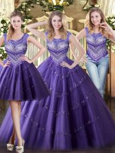 Fashion Beading Quinceanera Gown Purple Lace Up Sleeveless Floor Length
