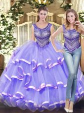 Noble Ball Gowns Quinceanera Dress Lavender Scoop Tulle Sleeveless Floor Length Lace Up