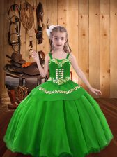 Glorious Floor Length Green Pageant Gowns For Girls Straps Sleeveless Lace Up