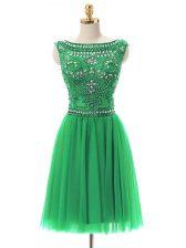 Glittering Sleeveless Mini Length Beading Zipper Prom Dresses with Green