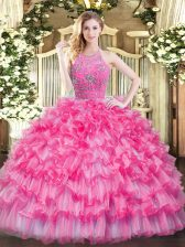 Hot Pink Zipper Halter Top Beading and Ruffled Layers Quinceanera Dresses Tulle Sleeveless