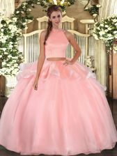 Halter Top Sleeveless Quinceanera Dresses Floor Length Beading Pink Organza