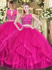 Clearance Hot Pink Sleeveless Tulle Zipper Quinceanera Gowns for Military Ball and Sweet 16 and Quinceanera